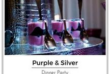 Purple and Silver Table Setting for a Stylish Dinner party / A  Table setting in the purple and silver color combination that is simply stunning. Set this look for your next Bash.  Suitable for Birthday, Anniversary,  Engagement, Celebration, Graduation, Dinner Party.