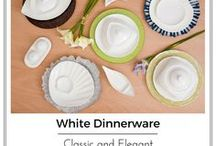White Dinnerware| by Little White Dish / A collection of unique, modern, sophisticated dinnerware, that can be used for every day or special occasions. White porcelain plates, bowls, teacups, trays, serving dishes, a complete collection for all your dining needs.