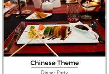 Chinese Themed Dinner Party| Chinese New Year / An Asian inspired table setting, with bold red and black pieces makes for a dramatic statement. Feel free to use this look for any occasion, or to change the color scheme, using this unusual dinnerware.