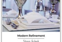 Modern Refinement| A sleek and modern tableware collection / Sharp and sleek lines define this unique collection. Shiny silver accents, bring this gorgeous collection to life. Dinnerware so versatile, can be used every day, as well as when entertaining.