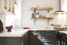Dream House Kitchen / White cabinets and butcher block please... and other farmhouse touches. Lately I love the look of a two-toned dark grey and white kitchen. / by City Wife, Country Life