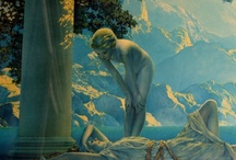 """Maxfield Parrish - Art Deco / """"The hard part is how to plan a picture so as to give to others what has happened to you. To render in paint an experience, to suggest the sense of light and color, of air and space."""" / by Linda Borger"""