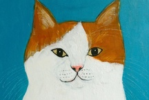 """Shimada (Japanese Artist) / His works feature cats in personification, or humans in """"cat-sonification"""", with the occasional use of other animals. / by Linda Borger"""