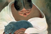 """Sandra Bierman / """"The figures often depict grounded women with bare earthy feet and large caring hands ... may be cradling a child, getting solace from a cat ... reflections from my own life.  The large old women may be my grandmother or me.  I am also the cat or baby."""" / by Linda Borger"""