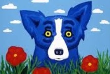 """George Rodrigue / """"I'm expressing the feelings of mankind today through the Blue Dog. The dog is always having problems of the heart, of growing up, the problems of life. The dog looks at us and asks, 'Why am I here? What am I doing? Where am I going?' Those are the same questions we ask ourselves. People look at the paintings, and the paintings speak back to them."""" / by Linda Borger"""