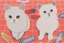 Jetoy - Se-ah Kim,  Artist / Founded in Korea in 200, the brand features dreamy-eyed cats called the Choo Choo Cats, named after founder's Turkish Angora cat.    / by Linda Borger