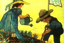 1914-1918: Tuinieren tegen de honger / Net voor de oorlog verhuurde Het Werk van den Akker 16 000 volkstuintjes aan arbeiders in België.  In 1918 vulden maar liefst 180 000 families hun armzalige rantsoen aan met wat ze er zelf kweekten.  Elk stukje niet-bebouwde grond werd in de steden en gemeenten omgetoverd tot moestuin.  Zelfs aan het front werd er door de soldaten in geïmproviseerde tuintjes geharkt en geschoffeld.  Wereldwijd groeiden de nog jonge volkstuinbewegingen als nooit tevoren.