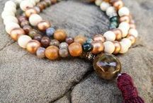 Mala Necklaces / All Mala necklaces on this board have 108 beads and are handmade with natural wood and gemstones. There are also some helpful tips on care of your meditative jewelry. / by Mama RubiRose