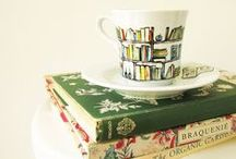 Literary Items / Bookish jewelry, mugs, bags, and so on as well as bookshelves and bookends.