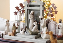 Nativities / I wish I had a room in my home to collect Nativities.  The story of the birth of Jesus is one of the greatest stories ever told.  My mother made with a huge Nativity Set that I keep on my fireplace at Christmastime. I put fresh greenery around it and white lights.
