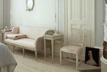 Gustavian Swedish Style / I love the fresh scrubbed style of Gustavian Swedish interiors. I love the subtle tones of antique whites and grays and the classic lines of the furniture.