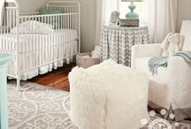 Baby Schneider's Nursery / Baby Schneider's nursery. Soft blue & grey with hints of mint. Modern, light with a few vintage accents.