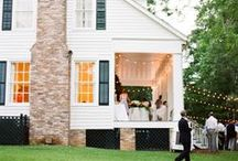 Exteriors / My dream is a white house in the country with painted shutters, a colorful front door, and a big garden.