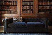 Sofas, livres, plaids et bureaux / by Aurore S.