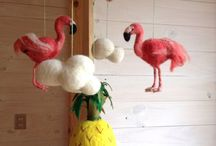 Móviles coco & co / Mobiles to decorate kid's rooms, using Needle felt technique, by Coco & Co with the collaboration of the artisan Eliana Guzmán  / by Constanza Fernandez Fabres