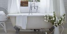 ⇢ Home: Bathroom / Bathroom decor, curtains, rugs, storage, towels, sink area, makeup station, bath tub, bath bombs