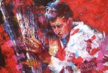 Jazz / Il jazz nei volti sfigurati dal jazz, nelle mani che prendono quella nota. Una serie di assoli, di musicisti, di gruppi, duo, trio, quintetti. Il jazz a colori, ad olio, a vernici. Diversi supporti: tela o alluminio in tutte le dimensioni E per ultimo delle serie di immagine in successione. Sono Standart dipinti ad olio su alluminio a ricreare un live.  Orvieto.  http://chioccia-tsarkova.it/