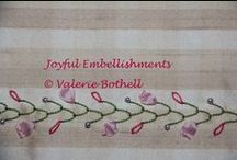 Joyful Embellishments / These are photo's of stitches I have done on my own crazy quilts.  Offered on my Face Book page as a source of inspiration and encouragement to all crazy quilters.  You may join me at anytime in the group Joyful Embellishments for daily inspiration!