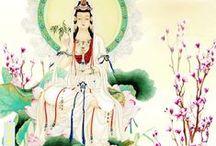 Eight Bodhisattvas / 1. Manjushri embodies wisdom 2. Avalokiteshvara embodies compassion 3. Vajrapani represents power 4. Ksitigarbha increases the richness and fertility of the land 5. Sarvanivaranavishkambhin purifies wrong-doing and obstructions 6. Maitreya embodies love 7. Samantabhadra displays special expertise in making offerings and prayers of aspiration 8. Akashagarbha has the perfect ability to purify transgressions.