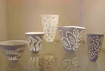 My Work / Examples of my work. I use a bone china body which I make from local materials, and decorate the surface with soluble metallic salts and piercing and cutting.