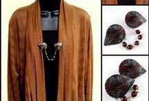 Sweaters & Shawls - our work / These are accent pieces we have made for shawls and sweaters from polymer clay.