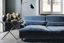 * GREY and BLUE combined * / Interiors with the colors grey and blue in combination
