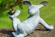 Garden Rabbits / Lovely statues, topiary bunnies and living cottontail rabbits along with a few gardens and plants that would really tempt rabbits to come on in.