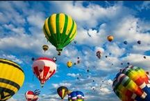 """Hot Air Balloons / """"...we'll be cruising at an altitude of 2500 feet and the exits are located one step to your front, back, right and left."""" / by Kris Mitchem"""