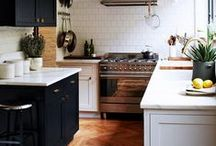 home: kitchen / white cabinets, dark floors / by Katie Anderson