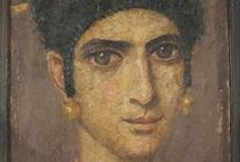 Fayum portaits / Fayum mummy portraits is the modern term given to a type of naturalistic painted portrait on wooden boards attached to mummies from the Coptic period. They date to the Roman period, from the late 1st century BCE or the early 1st century CE onwards. Under Greco-Roman rule, Egypt hosted several Greek settlements, mostly concentrated in Alexandria, but also in a few other cities, where Greek settlers lived alongside some seven to ten million native Egyptians.