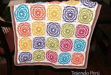 Cobijas o mantas tejidas en palitos o dos agujas, crochet, horquilla, telares y más! / Paso a paso para tejer diversas cobijas o mantas! / by Tejiendo Perú