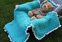 Crochet Baby blankets, pillows, photo-props, bunting and cocoons / and some hats if they match / by Crocheting Lawyer