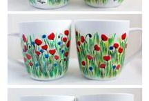 Hand-painted Mugs / Kristi Palm Art