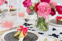 Black White Pink Gold Decor / Decor in a black, white, pink and gold theme.