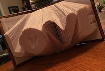 Book Folding Art / Books that I have re-purposed for art. I will be selling my book art on Etsy and will take custom orders. A book with up to 5 letters is $75.00 + shipping. Each extra letter over 5 is $5.00 per letter. I will be adding more of my book art here on my Pinterest board soon.