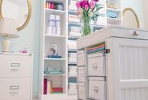 Home Office Inspiration / Turquoise, duck egg, pink, white, neutral office interior ideas
