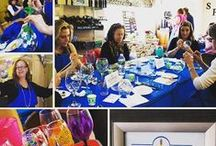 """Drinkable Arts Party FUNDraiser / We had a paint your own glass creation and """"UNCORKED OUR CREATIVE SIDE!!"""" Everyone left with a hand painted masterpiece!   Event was held at The Mystic Images Salon and Spa to support The Stevens-Buswell Community Center in April 2016. Sherry Hoffman was the instructor with Drinkable Arts. They provided all the materials and helped everyone to make their creative design come to life!   Door prizes donated by M. Mills Co., The Skin Care Jewelry and Drinkable Arts of NH."""