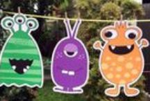 Monsters Theme / Preschool, kindergarten, early elementary theme / unit curriculum, crafts, songs, finger plays, printables, games, math, science, ideas. See also Halloween