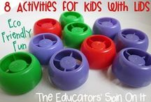 Pouch Cap Crafts & Activities / Fun ways to use the colorful plastic screw tops from baby food pouches.