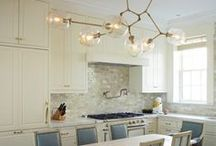 KITCHENS / My favorite kitchens and pantry spaces. A lot of Carrara marble, open shelving and glass food storage.