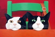 ILUSTRACIONES DE GATOS / ilustraciones y pinturas de gatos / by Marytè Arias