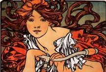 Art: Mucha, Mucha, Mucha! / Alfons Maria Mucha (1860-1939), often known in English and French as Alphonse Mucha, was a Czech Art Nouveau painter and decorative artist, known best for his distinct style. He produced many paintings, illustrations, advertisements, postcards, and designs. / by Julia Dalton
