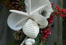 Coastal Christmas / Coastal Holiday Inspirations l DIY Christmas Decorations - Seashells, Sea Glass and Driftwood l Beach Cottage - Beach Home Christmas Decorating Ideas l www.CarolinaDesigns.com - (800) 368-3825