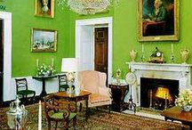 Green Rooms / Rooms featuring the color green on the walls, upholstery and furniture