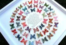 Love Paper Scissors Paper Butterfly Art / Gorgeous Framed Paper Butterflies