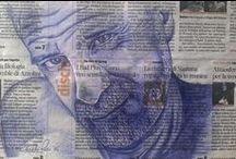 Bicritratti su foglio di giornale / la bic sul giornale