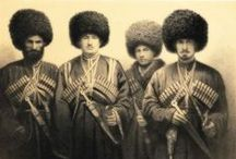 "PEOPLE: Cossacks / What many think of as the ""Cossack"" dress was in fact the traditional style of the mountain peoples of the Caucasus. Cossacks were Georgians, Dagestanis, Terek, Kuban, Ossetians, Kabardians, Ingush, Azeris, Chechens, Circassians, Tatars, Kumyks, Don, Kalmyks, Urals, Astrakhan to name a few..."