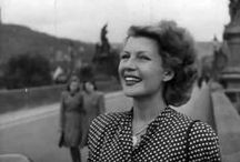 PEOPLE: Rita Hayworth in Prague / Rita Hayworth in Carlsbad, Karlovy Vary and Prague, Czech republic, Czechoslovakia, Bohemia.