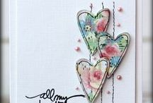 Card Inspiration Applique Hearts / Inspiration for machine free motion, sewn  or hand embroidered fabric or paper appliqué cards featuring hearts / by Jill Parker