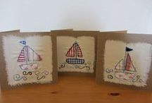 Card Inspiration Appliqué Boats & Seaside / Inspiration for machine free motion, sewn  or hand embroidered fabric or paper appliqué cards featuring boats & sea scenes / by Jill Parker